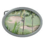 Golf Course in Tropics Buckle Oval Belt Buckle